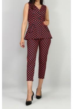 Siyah Puantiyeli Bluz & Pantolon Takım