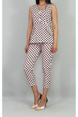 Pudra Puantiyeli Bluz & Pantolon Takım