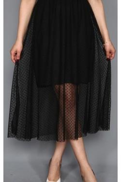 Tül Detay Siyah Midi Elbise