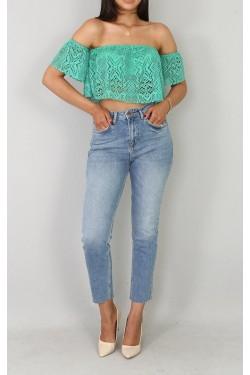 Yüksek Bel Mavi Jean Pantolon