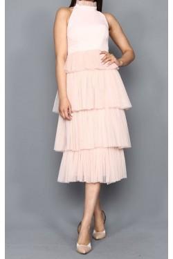 Eteği Kat Kat Pudra Midi Tül Elbise
