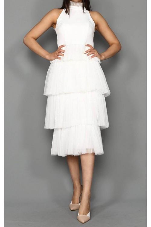 Eteği Kat Kat Beyaz Midi Tül Elbise