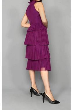 Eteği Kat Kat Mor Midi Tül Elbise