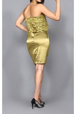 Yeşil Güpür Detaylı Mini Abiye Elbise