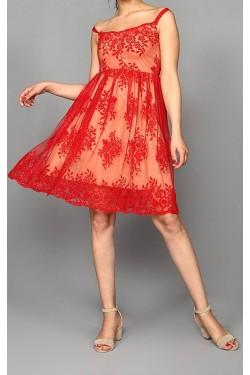 İp Askılı Şık Kırmızı Mini Elbise