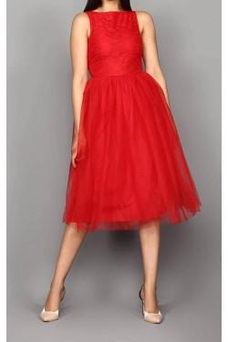 Eteği Tül Kırmızı Midi Elbise