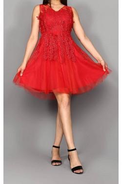 Güpür Detay Kırmızı Mini Abiye Elbise