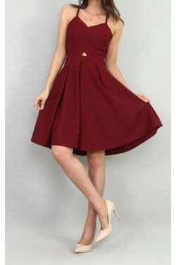 Sırtı Çapraz İpli Bordo Mini Elbise
