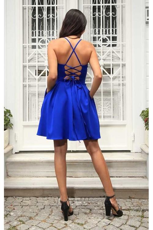 Sırtı Çapraz İpli Saks Mini Elbise