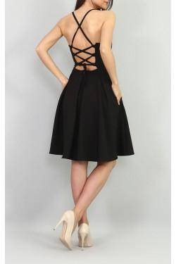 Sırtı Çapraz İpli Siyah Mini Elbise