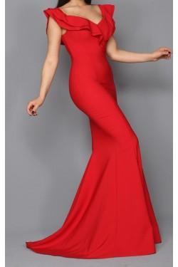 Volan Yaka Kırmızı Balık Abiye Elbise