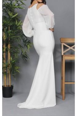 Beyaz Dantel Detay Uzun Şifon Abiye