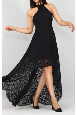 Arkası Uzun Siyah Güpür Abiye Elbise