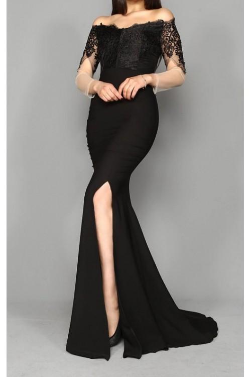 a4a5d65f52143 Güpür İşleme Siyah Uzun Abiye Elbise - Şık Gece Elbiseleri