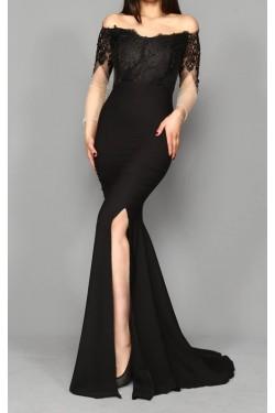 Güpür İşleme Siyah Uzun Abiye Elbise