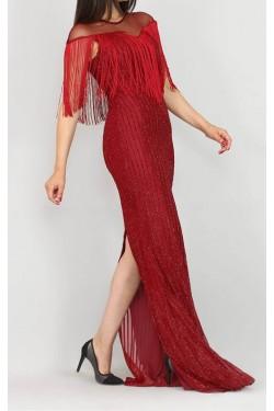 Saçaklı Uzun Bordo Abiye Elbise