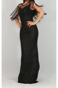 Saçaklı Uzun Siyah Abiye Elbise