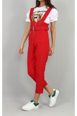Kırmızı Salopet & Beyaz Tişört Takım