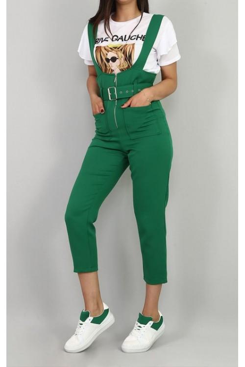 Yeşil Salopet & Beyaz Tişört Takım