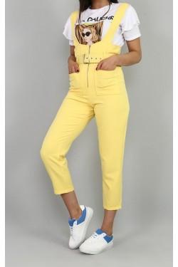 Sarı Salopet & Beyaz Tişört Takım