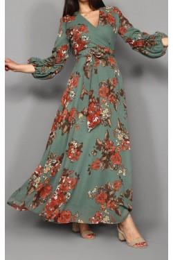 Çiçekli Yeşil Uzun Şifon Elbise