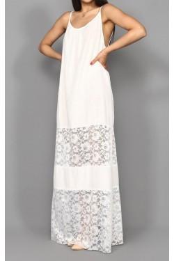Eteği Tül Beyaz Uzun İp Askılı Elbise