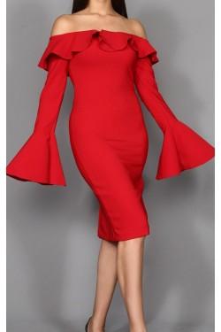 Kolları Volanlı Kırmızı Midi Elbise