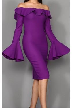 Kolları Volanlı Mor Midi Elbise