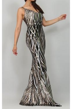 Pul Payet Askılı Uzun Abiye Elbise