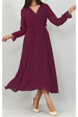 Kruvaze Yaka Fuşya Midi Şifon Elbise