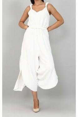 Askılı Beyaz Renk Tulum