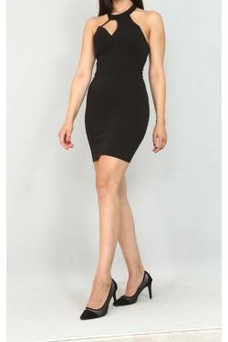 Göğüs Detay Sırt Dekolteli Mini Elbise