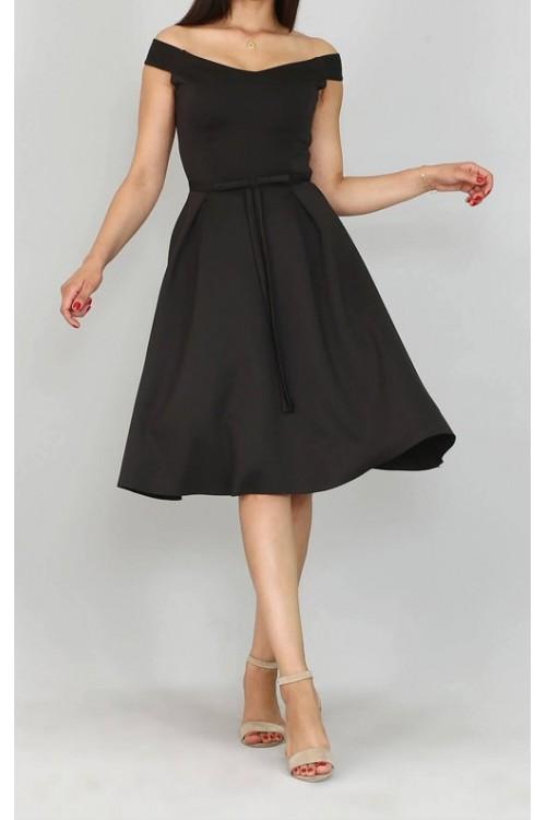 Fiyonk Detaylı Siyah Midi Elbise