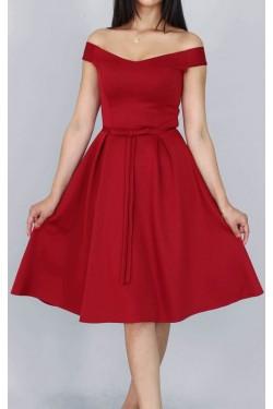Fiyonk Detaylı Bordo Midi Elbise