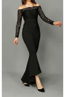 Güpür Detaylı Siyah Uzun Abiye Elbise