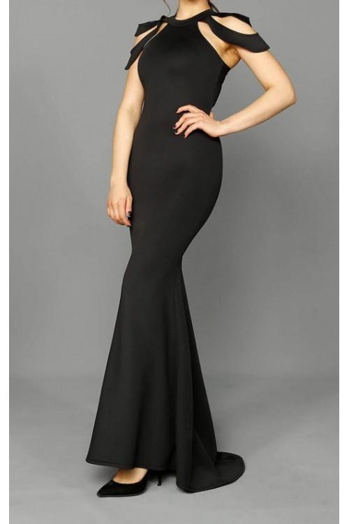 4cee6c07c36a5 Siyah Uzun Balık Model Abiye Elbise