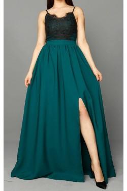 Güpür Detay ve Yırtmaçlı Yeşil Abiye Elbise