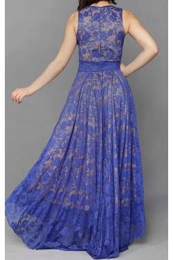 Saks Rengi Uzun Abiye Elbise