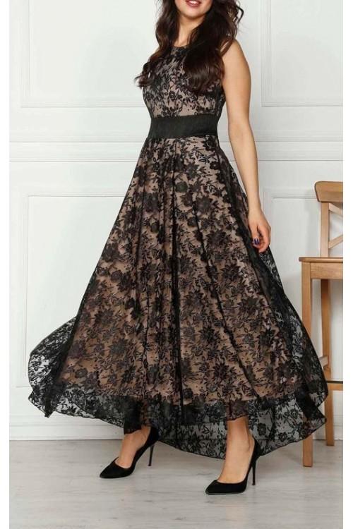 Siyah Uzun Güpür Abiye Elbise
