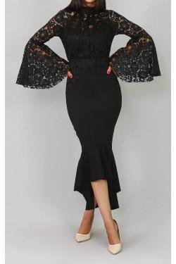 Güpür Detaylı Siyah Volanlı Abiye Elbise