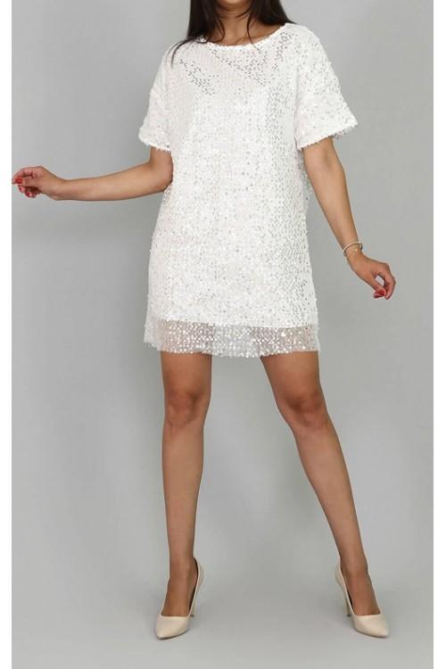 c4a583d60b815 Pul Payet Beyaz Mini Elbise