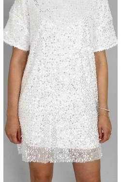 Pul Payet Beyaz Mini Elbise