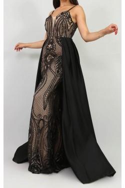 İp Askılı Siyah Uzun Balık Abiye Elbise