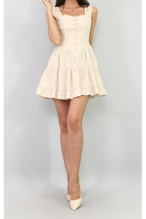 Düğme Detaylı Bej Mini Keten Elbise