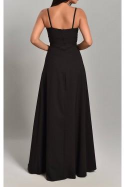İp Askılı ve Yırtmaçlı Siyah Uzun Abiye Elbise