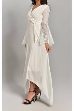 Astarlı Kolları Volanlı Beyaz Şifon Elbise