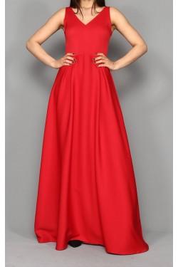 V Yaka Kırmızı Uzun Abiye Elbise