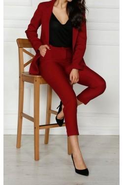 Bordo Ceket & Pantolon Takım
