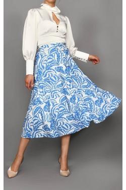 Beyaz Bluz & Mavi Etek
