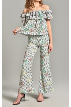 Beyaz ve Yeşilli Pantolon & Volanlı Bluz Takım
